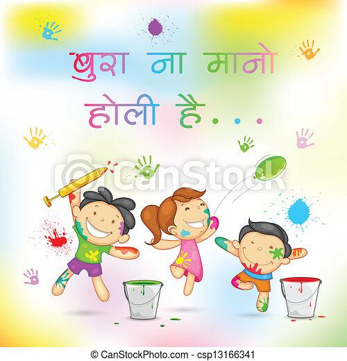 Kids Playing Holi Illustration Of Kids Playing Holi With Color And