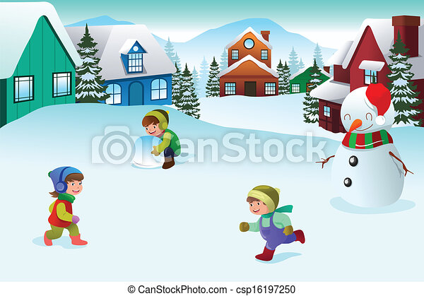 kids playing in a winter wonderland a vector illustration of happy rh canstockphoto com walking in a winter wonderland clipart winter wonderland background clipart