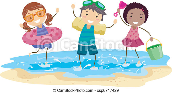 Kids Playing in the Beach - csp6717429