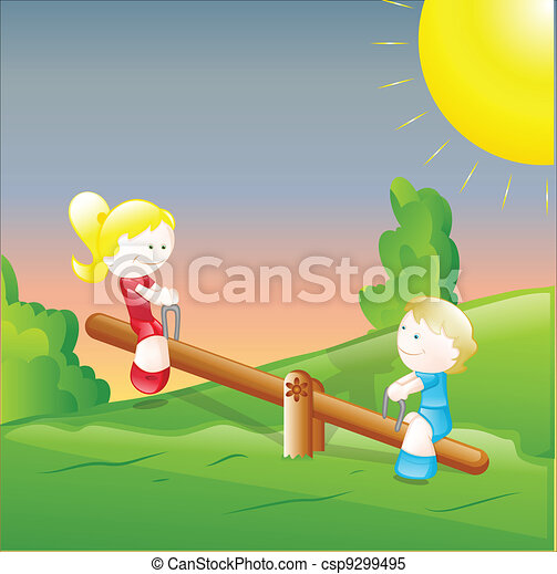 Clipart Vector of Kids Playing in the Garden Creative Design Art