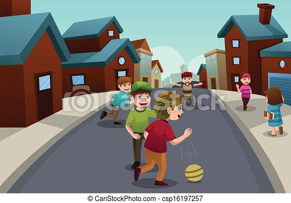 Kids playing in the street of a suburban neighborhood - csp16197257