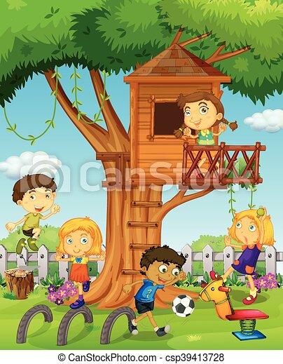 Kids playing in the treehouse - csp39413728