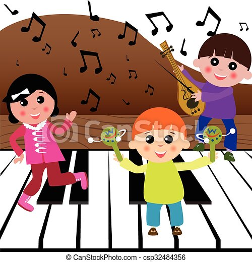 kids playing music children playing with musical clipart vector rh canstockphoto com Artist Clip Art Music Note Clip Art