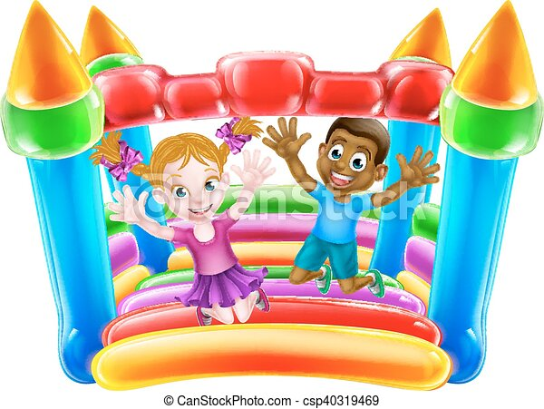 Kids Playing on Bouncy Castle - csp40319469