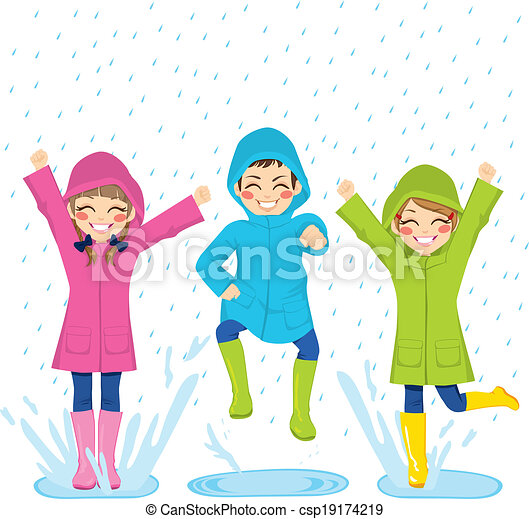 Kids Playing On Puddles - csp19174219