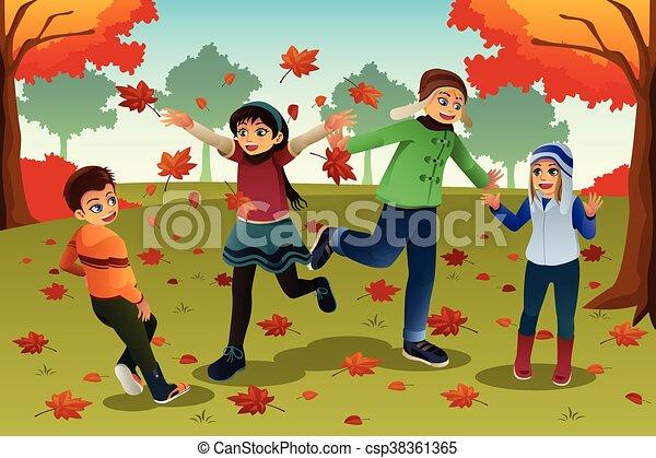 Kids Playing Outdoor - csp38361365