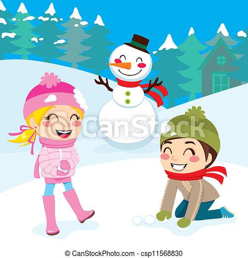 Kids Playing Outdoors - csp11568830