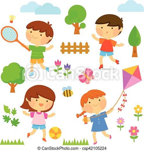 kids playing outside - csp42105224
