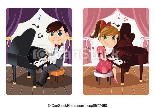 Kids playing piano - csp8577490