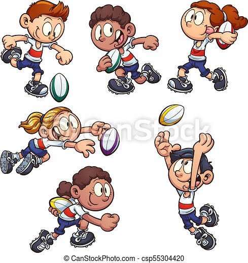 Kids Playing Rugby Cartoon Kids Playing Rugby Vector Clip Art