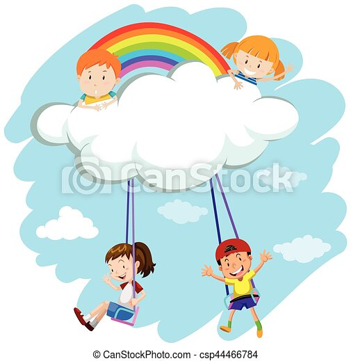 kids playing swing on clouds illustration rh canstockphoto com