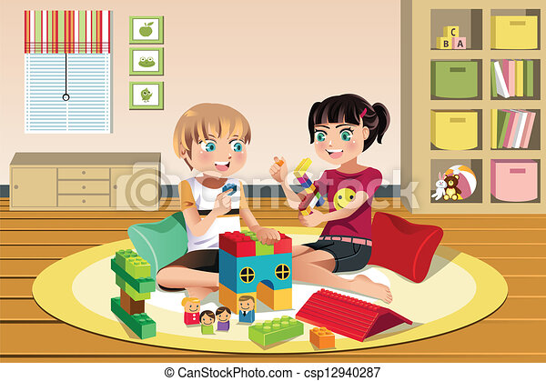 Kids playing toys - csp12940287