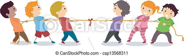 Kids playing Tug of War - csp13568311