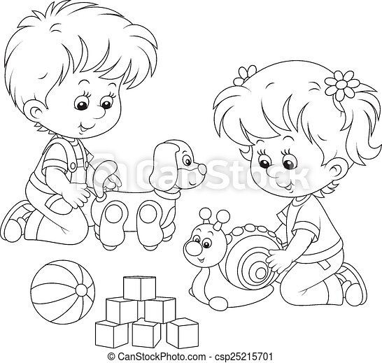 Kids Playing Little Girl And Boy Playing With Their Toys