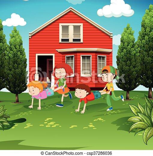 Kids Playing Wheelbarrow In The Yard Illustration