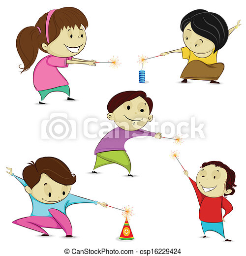 easy to edit vector illustration of kids playing with Exploding Firecracker Clip Art Patriotic Clip Art