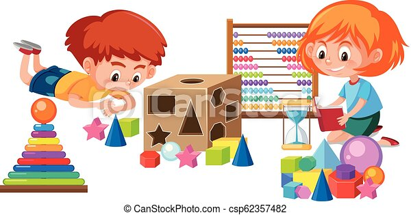 Kids Playing With Math Toy Illustration