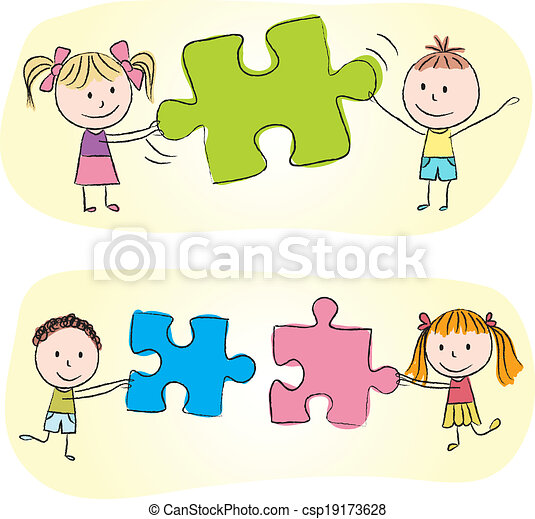 Kids playing with puzzle - csp19173628