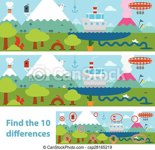Kids puzzle of a lake and mountains difference - csp28165219