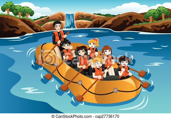 A Vector Illustration Of Kids Rafting In A River Vectors