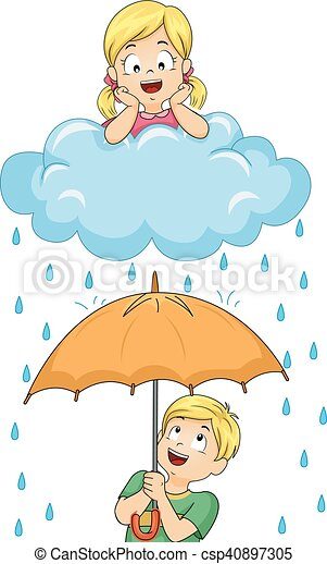 Over Under Clipart Kids rain umbrella ove...