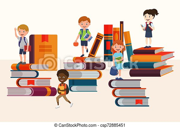 Kids Reading Books And Enjoying Literature Vector Illustration Cartoon Boys And Girls Loving To Read Sitting And Laying Surrounded With Piles Of