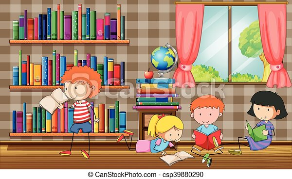 Kids reading books in the library - csp39880290