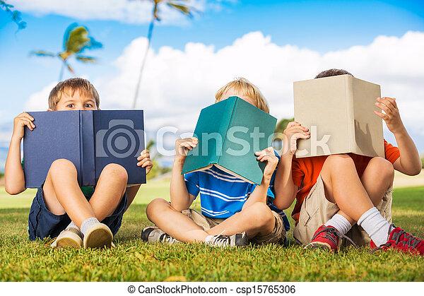 Kids Reading Books - csp15765306