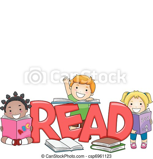 illustration of kids reading different books vectors search clip rh canstockphoto ca Reading Owl Clip Art School Clip Art