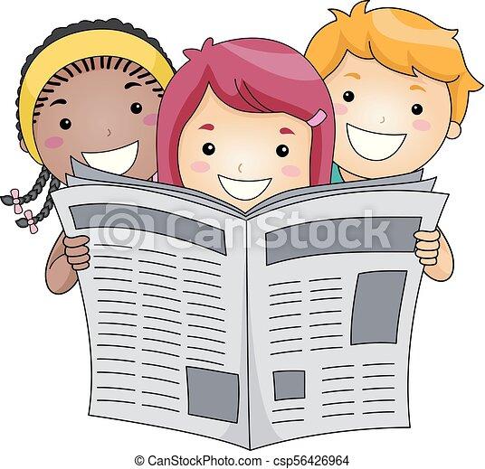 Kids reading newspaper illustration. Illustration of kids ...