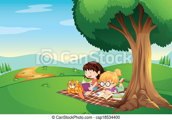 Two boys reading book under tree Royalty Free Vector Image