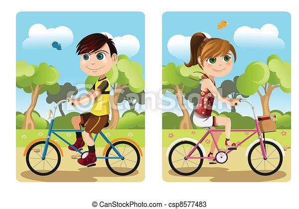 Kids riding bicycle - csp8577483