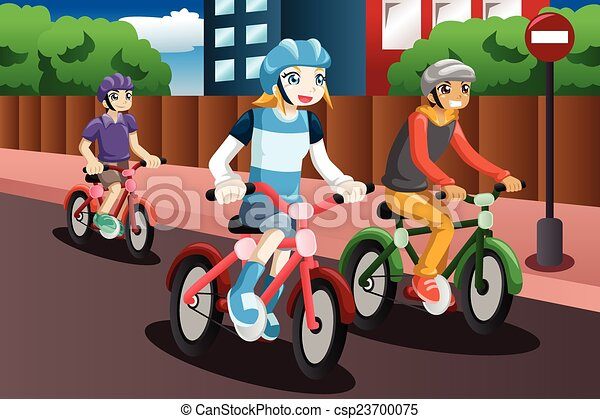 Kids Riding Bike A Vector Illustration Of Happy Kids Riding Bike