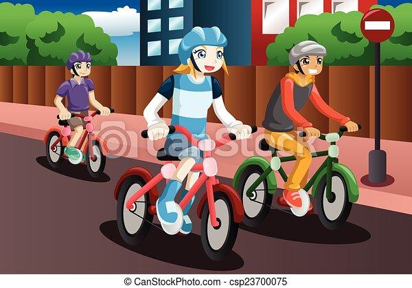 Kids Riding Bike A Vector Illustration Of Happy Kids Riding Bike
