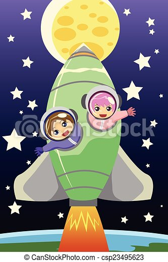 Kids riding on a rocket - csp23495623