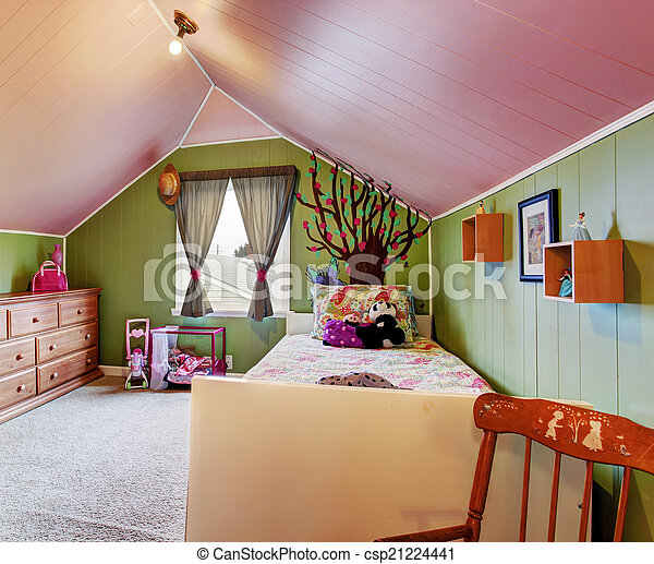 Kids room in green and pink color