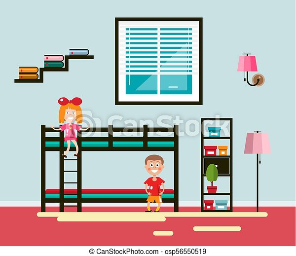 Kids Room with Bed and Window. Boy and Girl Vector Flat Design Home Interior Illustration. - csp56550519