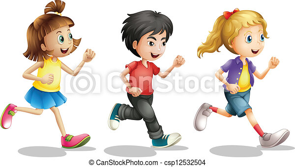 kids running illustration of kids running on a white background rh canstockphoto com People Running Clip Art Running Clip Art Black and White