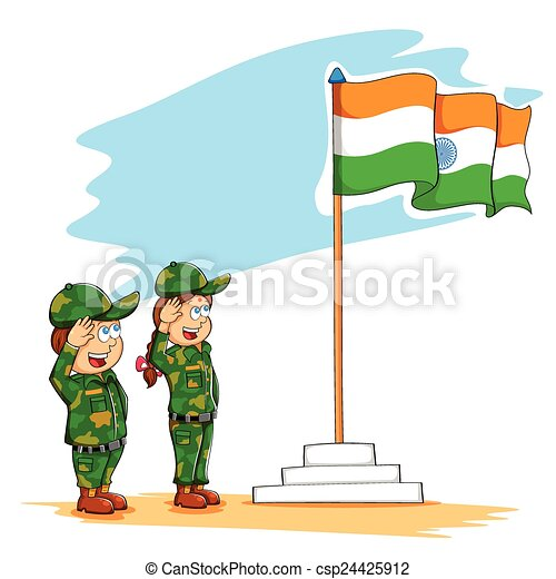 illustration of kids saluting indian flag vector clip art search rh canstockphoto com clip art indian horse clip art indian head