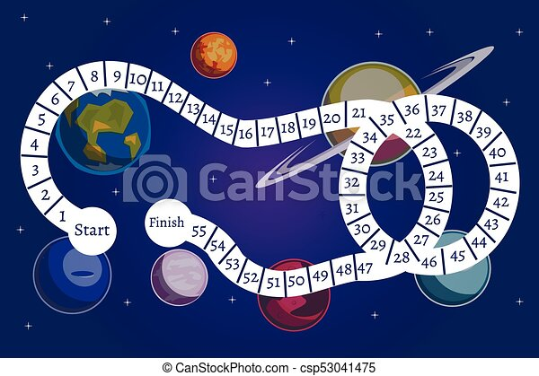 Kids Science And Space Board Game Vector Illustration
