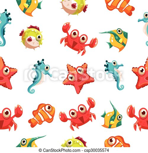 Kids seamless pattern with sea life - csp30035574