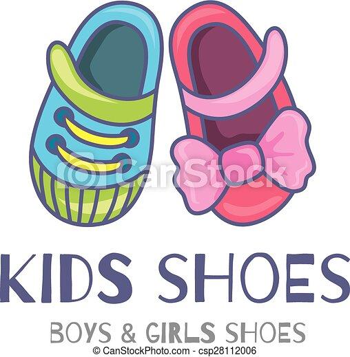 Kids shoes. Logo or symbol of children