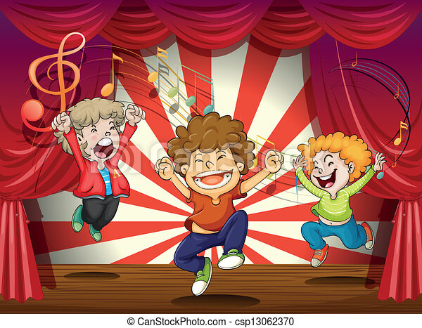 Kids singing at the stage - csp13062370