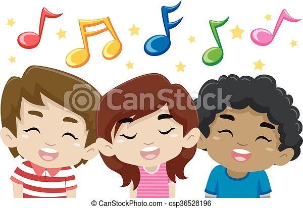 Kids Singing with Music Notes - csp36528196