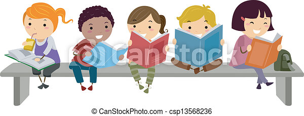 Kids Sitting on Bench while Reading - csp13568236