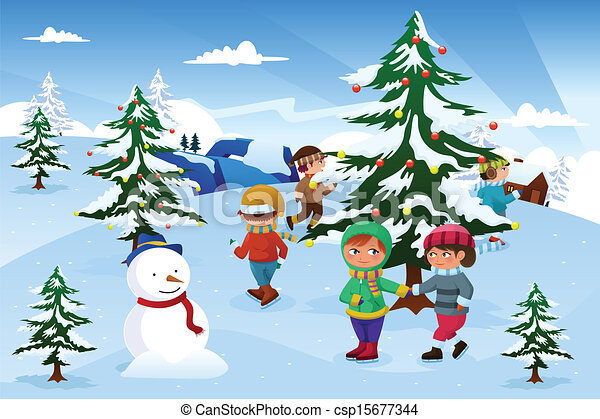 kids skating around a christmas tree a vector illustration of group