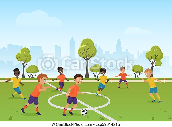 Kids Soccer Game Boys Playing Soccer Football On The School Sport Field Cartoon Vector Illustration Kids Soccer Game Boys