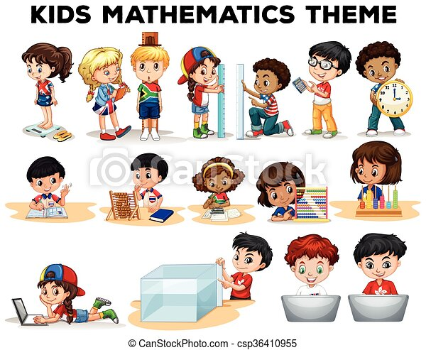 Kids solving math problems illustration clipart vector - Search ...