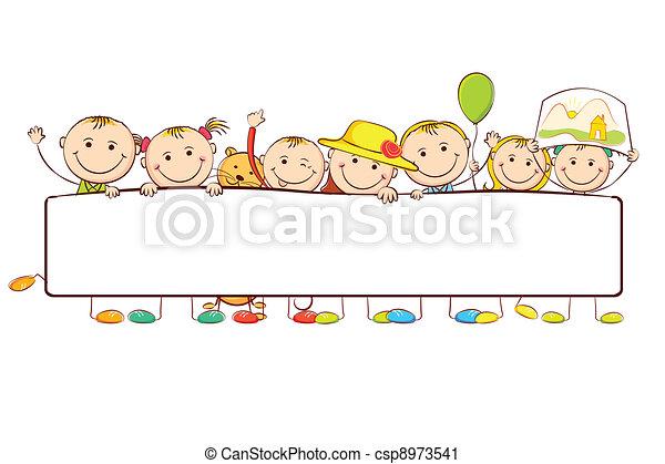 Kids standing behind Banner - csp8973541