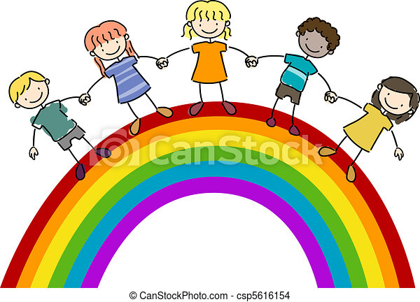 Kids Standing on Top of a Rainbow - csp5616154